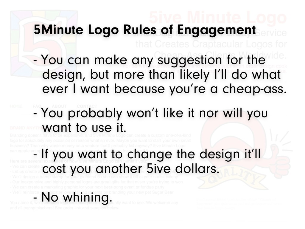 5Minute Logo Rules of Engagement - You probably...