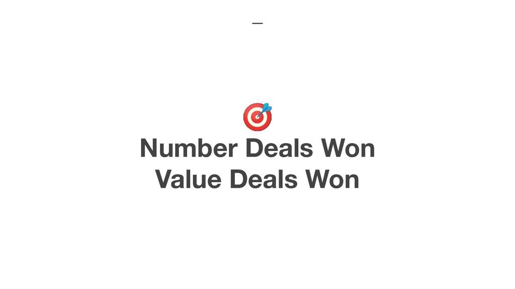 Number Deals Won Value Deals Won