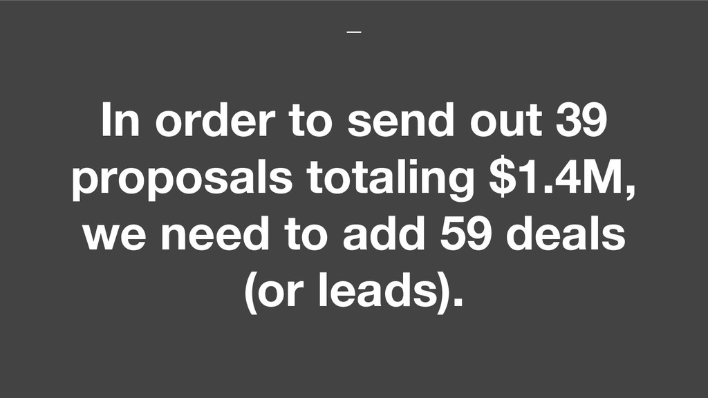 In order to send out 39 proposals totaling $1.4...