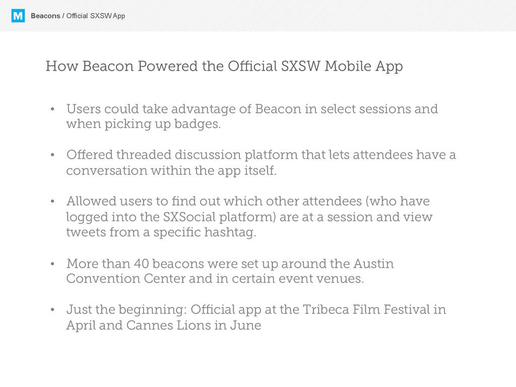 M Beacons / Official SXSW App How Beacon Powere...
