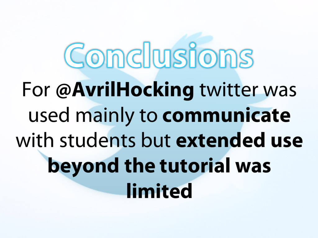 For @AvrilHocking twitter was used mainly to co...