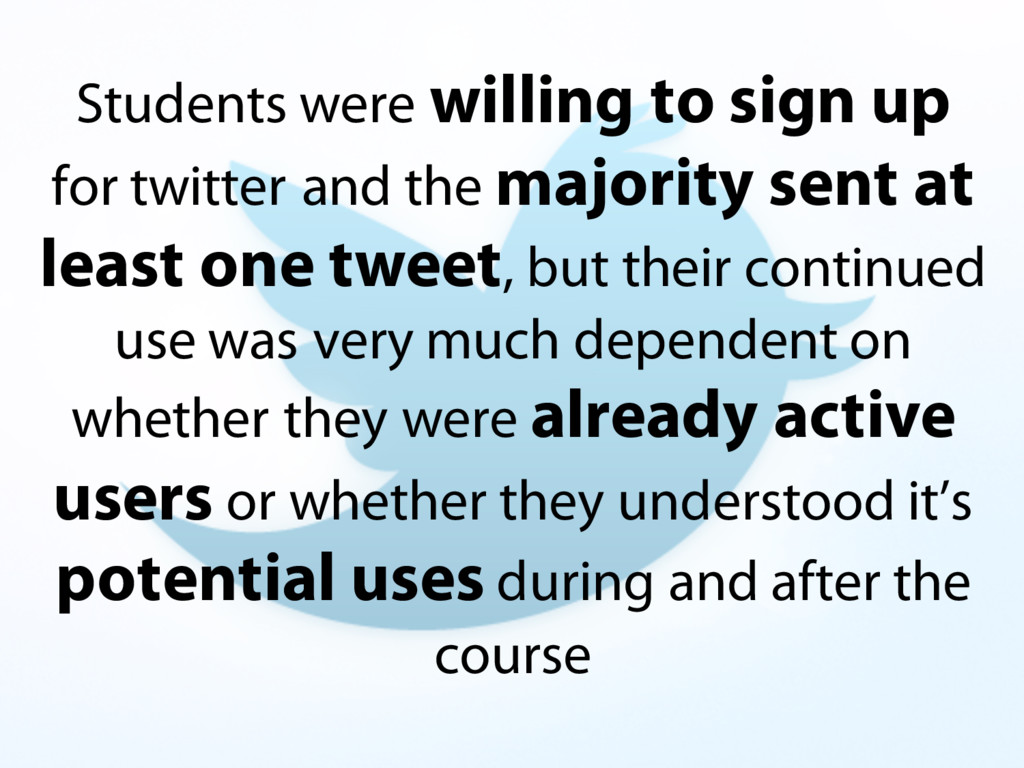 Students were willing to sign up for twitter an...
