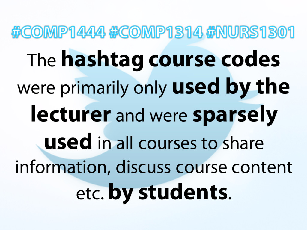 The hashtag course codes were primarily only us...