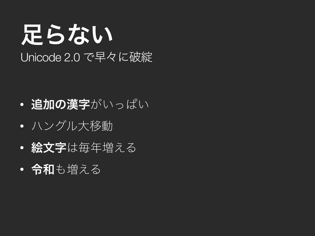 Unicode 2.0 Ͱૣʑʹഁ Βͳ͍ • Ճͷ͕͍ͬͺ͍ • ϋϯάϧେҠಈ ...