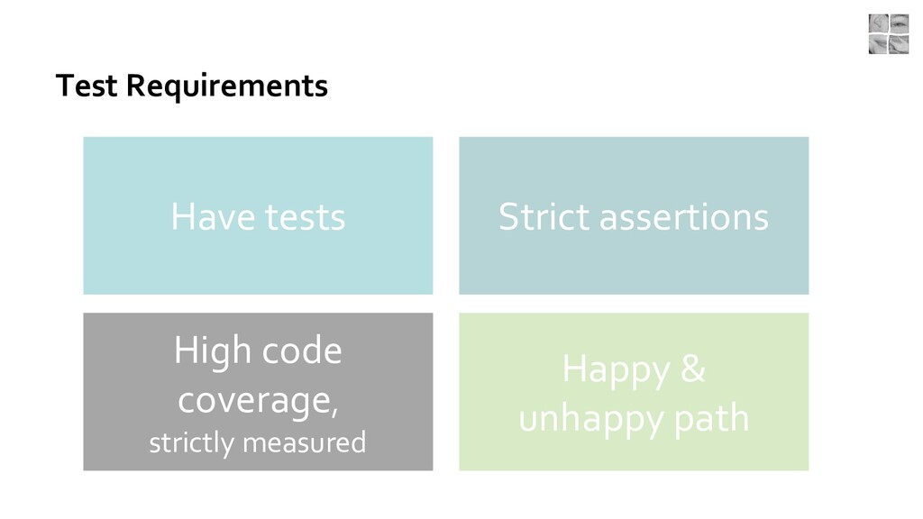 Test Requirements Have tests Strict assertions ...