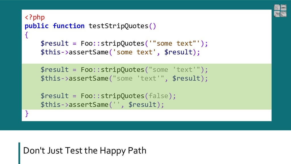 <?php public function testStripQuotes() { $resu...