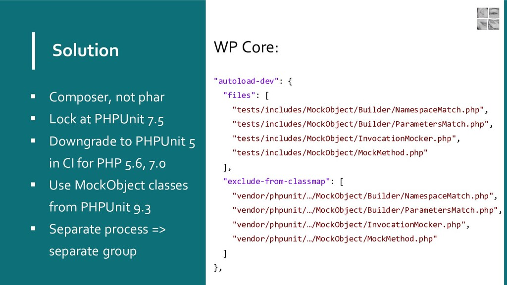"Solution WP Core: ""autoload-dev"": { ""files"": [ ..."