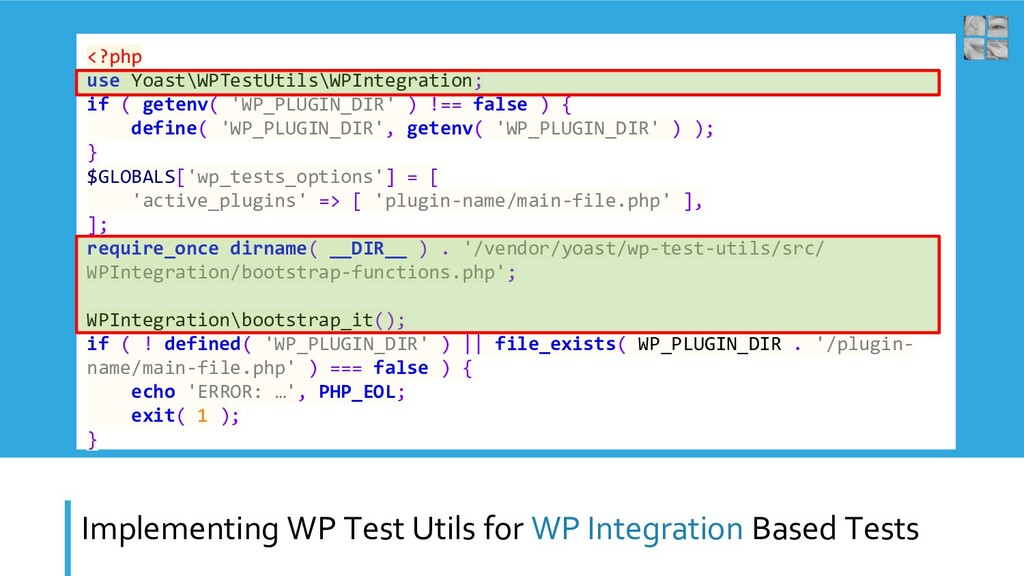 Implementing WP Test Utils for WP Integration B...