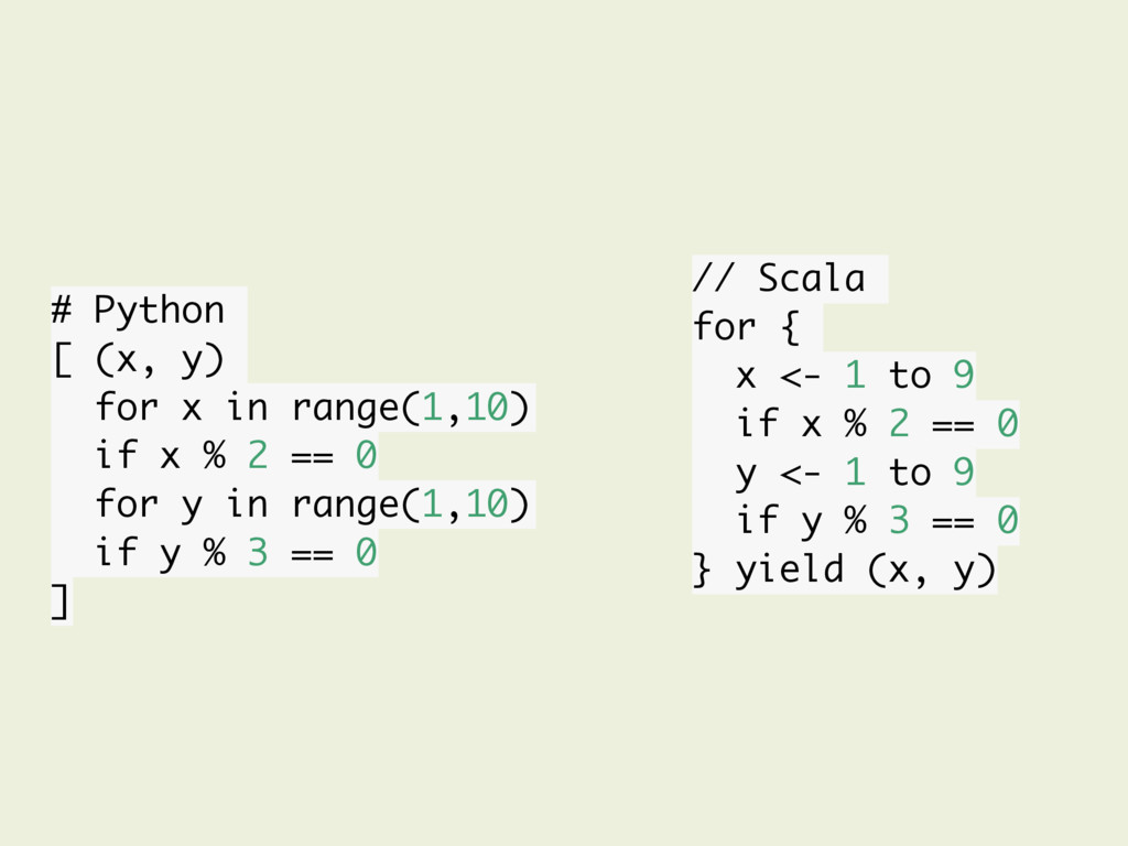 # Python [ (x, y) for x in range(1,10) if x % 2...