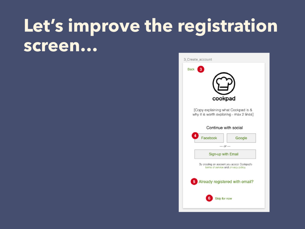 Let's improve the registration screen…