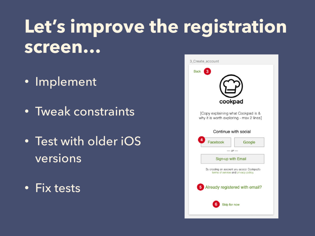 Let's improve the registration screen… • Implem...