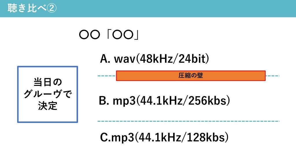 聴き⽐べ② 〇〇「〇〇」 A. wav(48kHz/24bit) C.mp3(44.1kHz/...