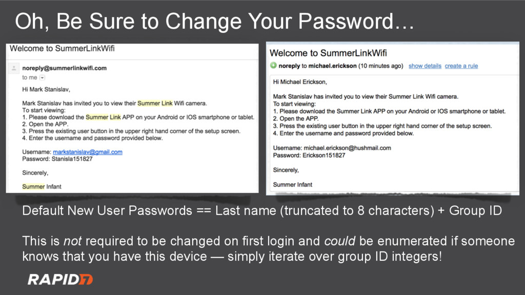 Oh, Be Sure to Change Your Password… Default Ne...