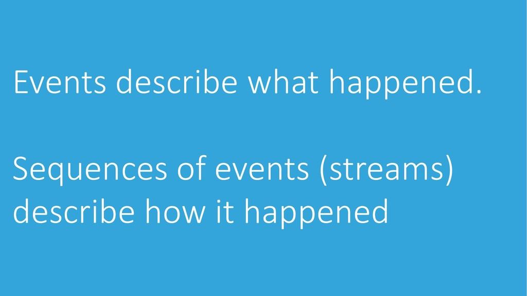 Events describe what happened. Sequences of eve...