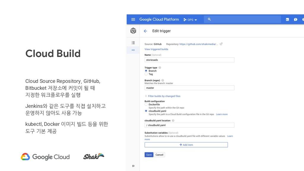 Cloud Build Cloud Source Repository, GitHub, Bi...