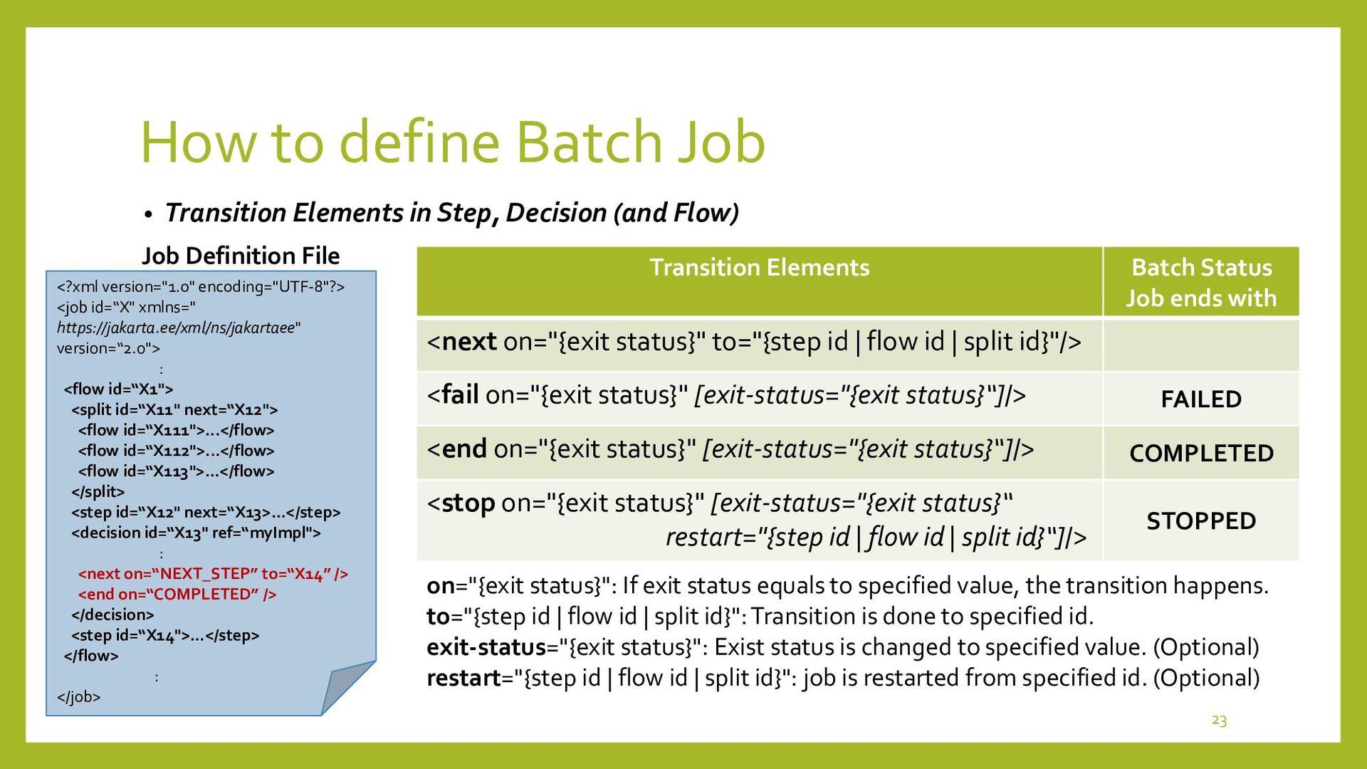 Batch Runtime How to define Batch Job • Listene...