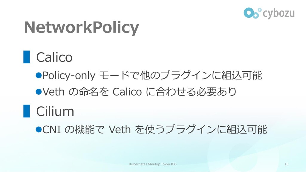 NetworkPolicy 15 ▌Calico ⚫Policy-only モードで他のプラグ...