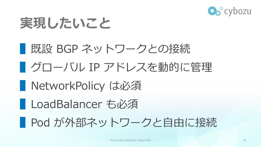 実現したいこと 20 ▌既設 BGP ネットワークとの接続 ▌グローバル IP アドレスを動的...