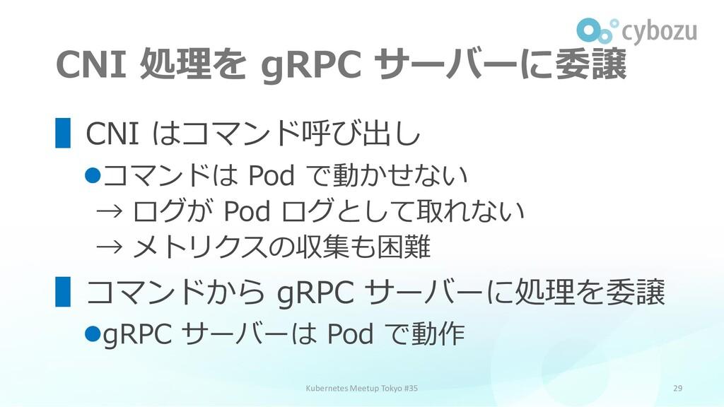 CNI 処理を gRPC サーバーに委譲 29 ▌CNI はコマンド呼び出し ⚫コマンドは P...