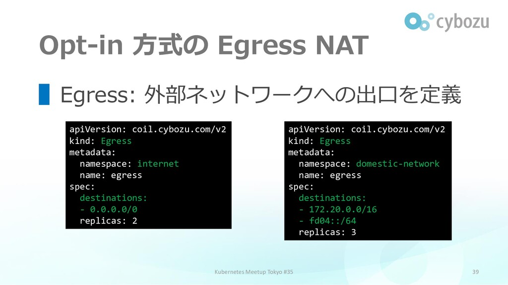Opt-in 方式の Egress NAT 39 ▌Egress: 外部ネットワークへの出口を...