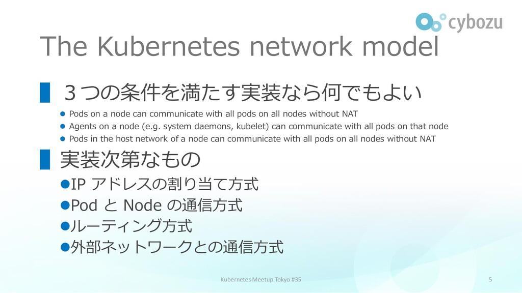 The Kubernetes network model 5 ▌3つの条件を満たす実装なら何で...