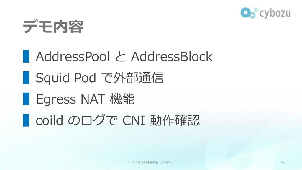 デモ内容 45 ▌AddressPool と AddressBlock ▌Squid Pod ...