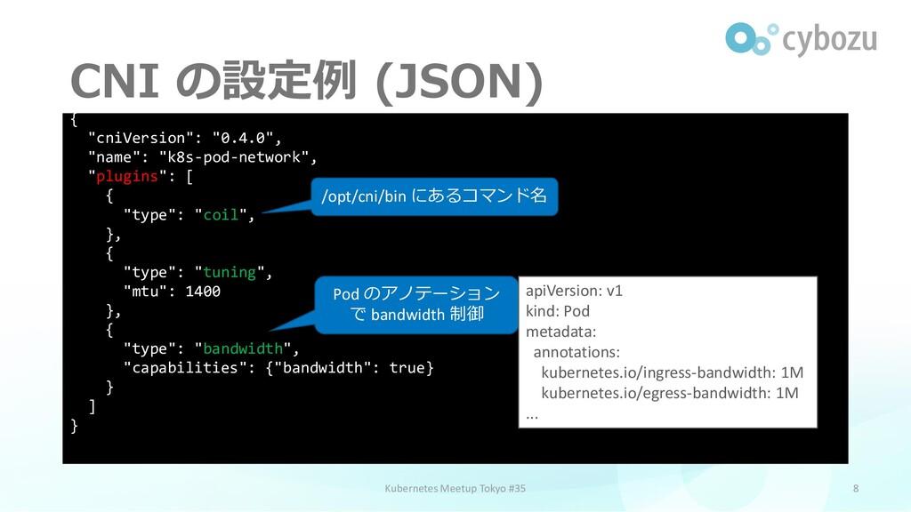 """CNI の設定例 (JSON) 8 { """"cniVersion"""": """"0.4.0"""", """"nam..."""