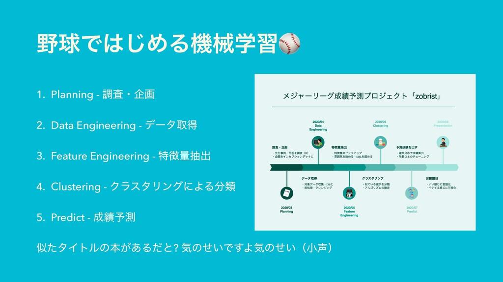 ٿͰ͡ΊΔػցֶश⚾ 1. Planning - ௐࠪɾاը 2. Data Engine...