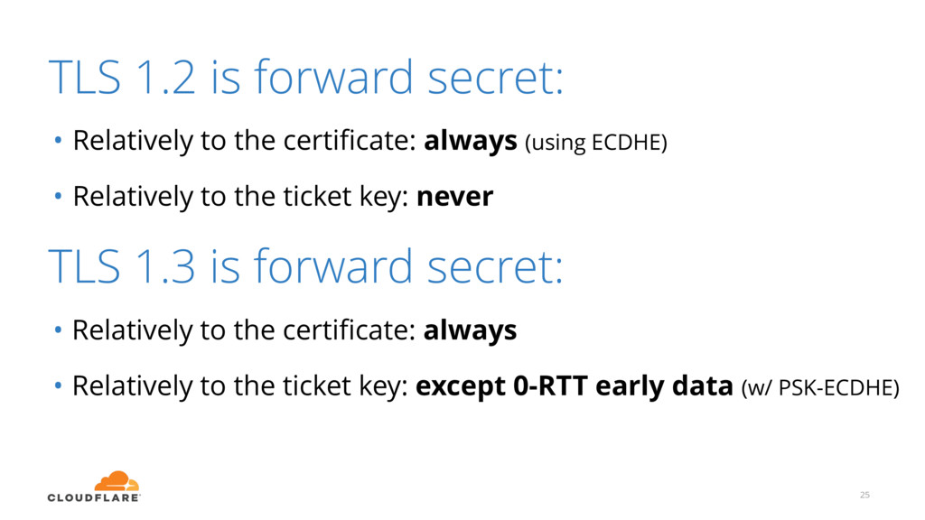 TLS 1.2 is forward secret: • Relatively to the ...