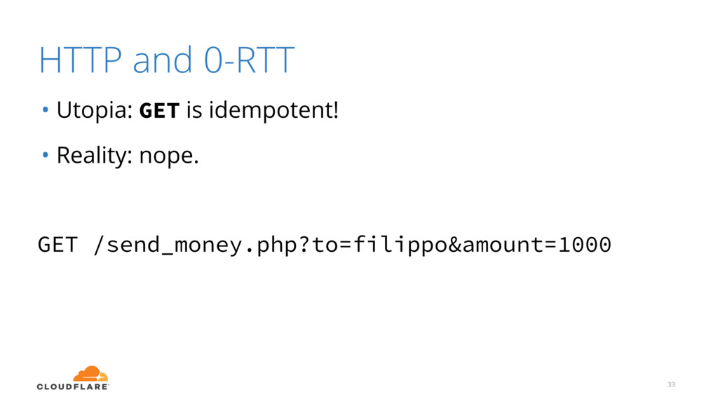 HTTP and 0-RTT 33 • Utopia: GET is idempotent! ...