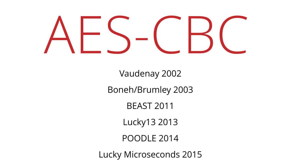 AES-CBC Vaudenay 2002 Boneh/Brumley 2003 BEAST ...