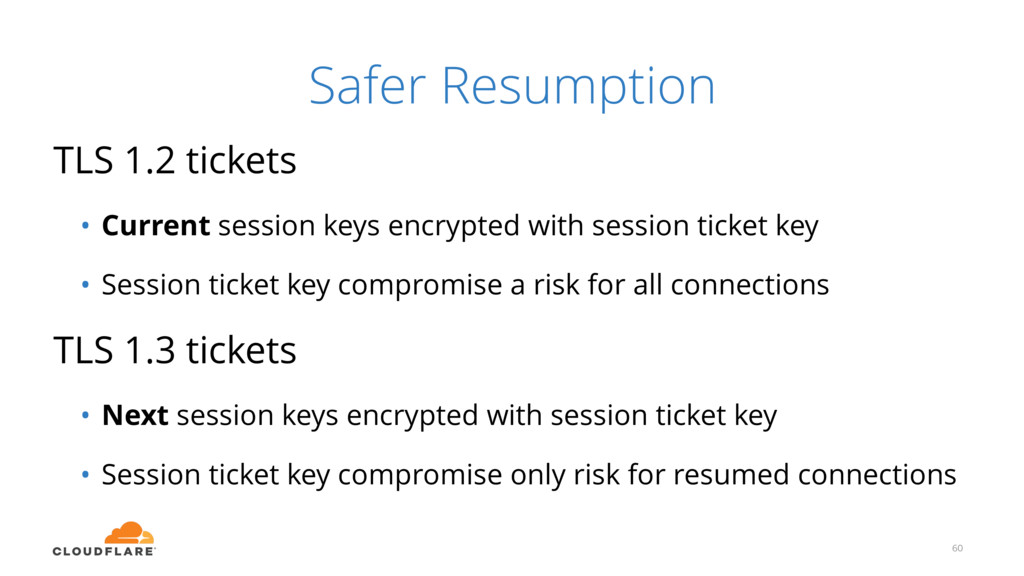 Safer Resumption TLS 1.2 tickets • Current sess...