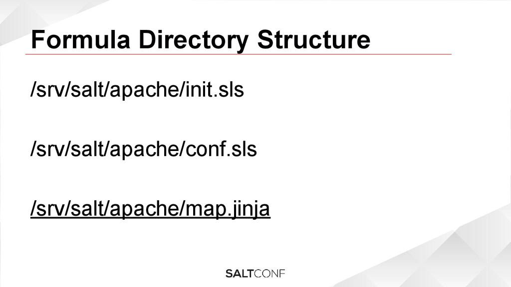 Formula Directory Structure /srv/salt/apache/in...