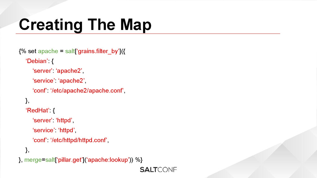 Creating The Map {% set apache = salt['grains.f...