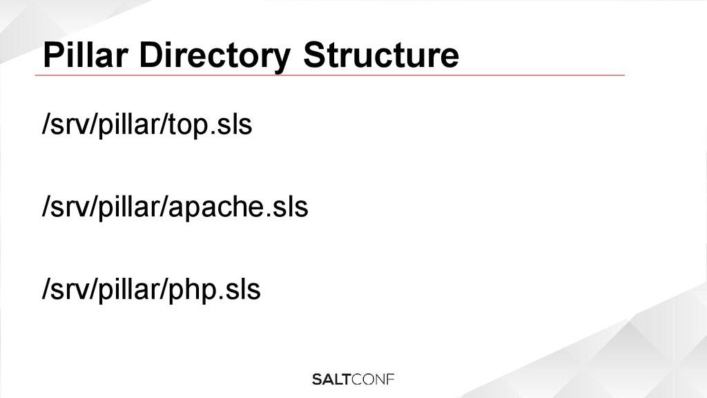 Pillar Directory Structure /srv/pillar/top.sls ...