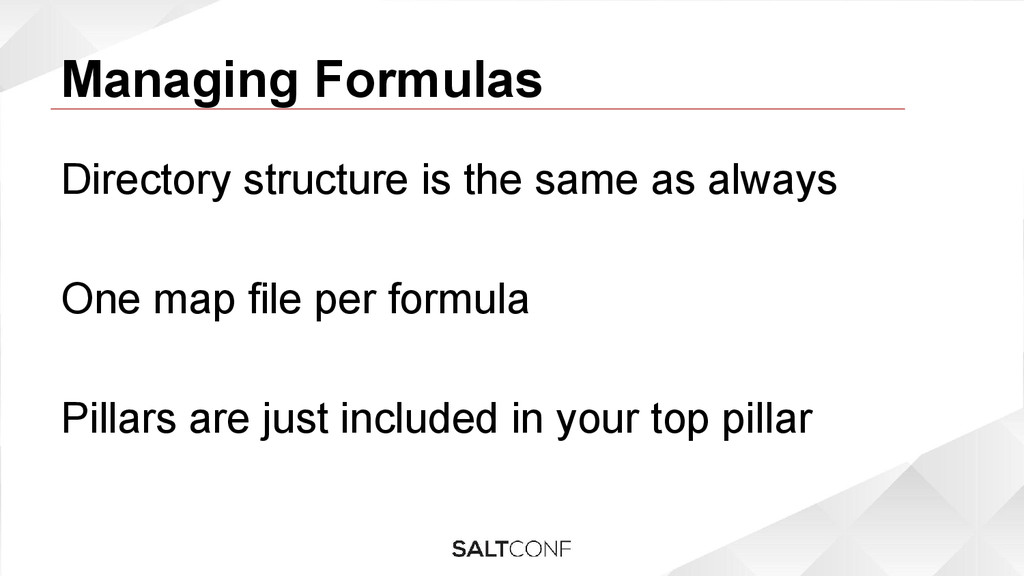 Managing Formulas Directory structure is the sa...