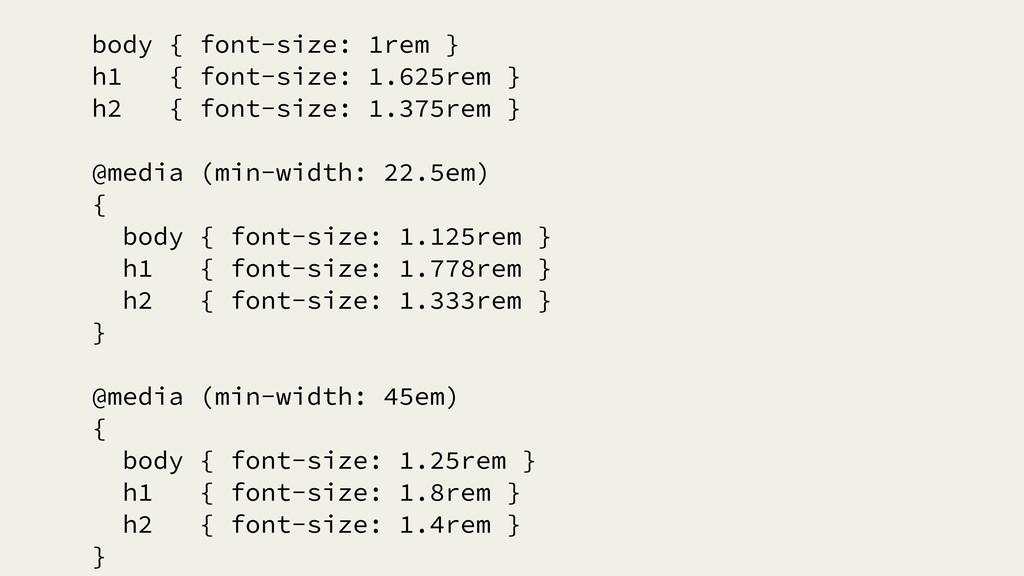 body { font-size: 1rem } h1 { font-size: 1.625r...