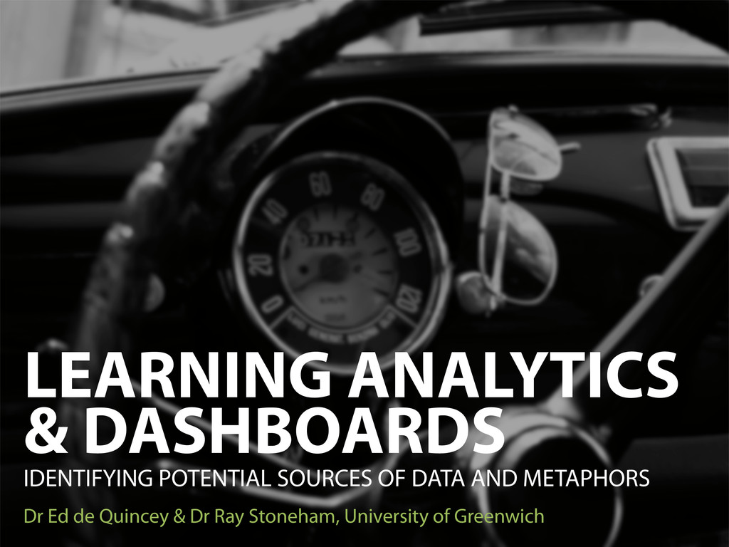 LEARNING ANALYTICS & DASHBOARDS IDENTIFYING POT...