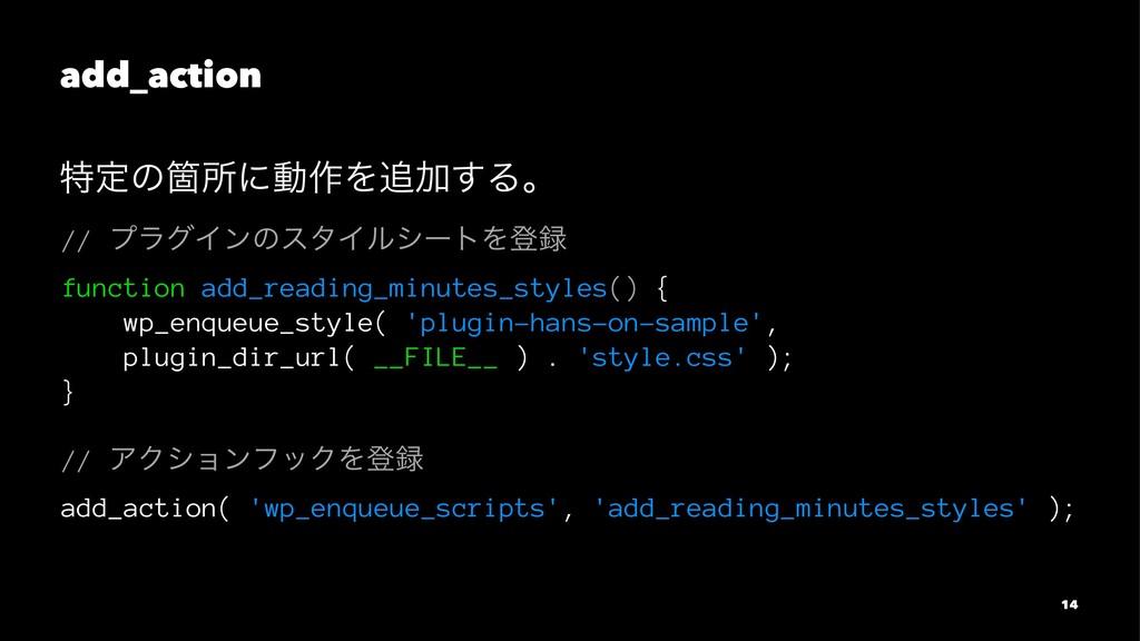 add_action ಛఆͷՕॴʹಈ࡞ΛՃ͢Δɻ // ϓϥάΠϯͷελΠϧγʔτΛొ f...