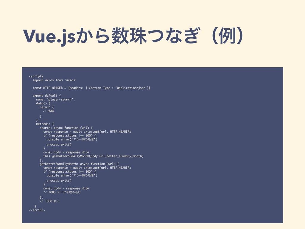 Vue.js͔Βचͭͳ͗ʢྫʣ <script> import axios from 'ax...