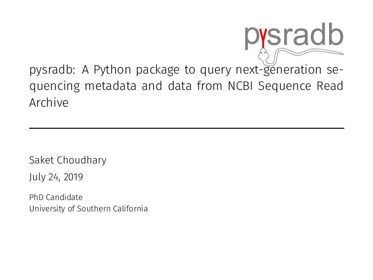 p sradb pysradb: A Python package to query next...