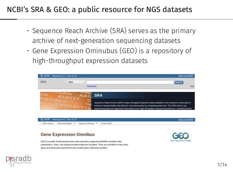 NCBI's SRA & GEO: a public resource for NGS dat...