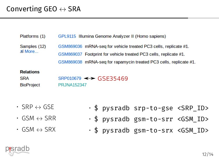 Converting GEO ↔ SRA GSE35469 • SRP ↔ GSE • GSM...