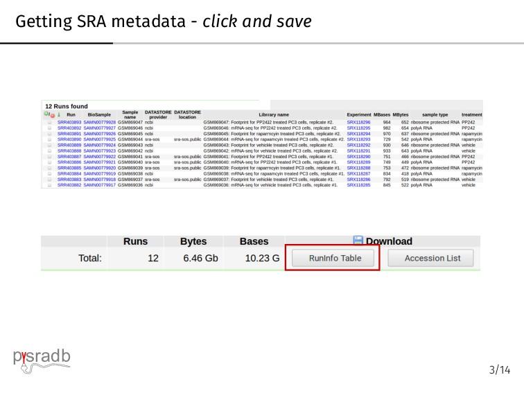 Getting SRA metadata - click and save p sradb 3...