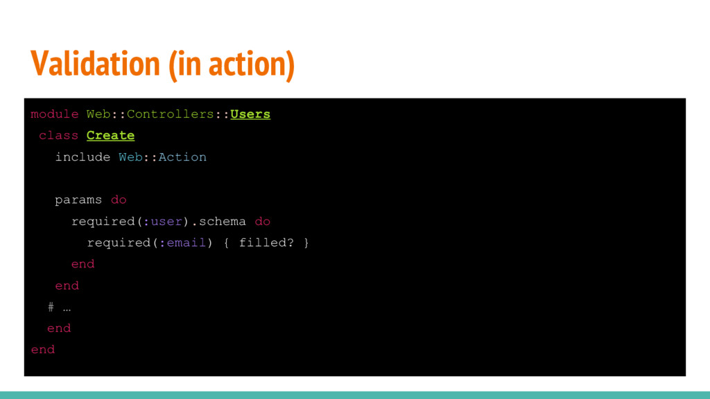 Validation (in action) module Web::Controllers:...