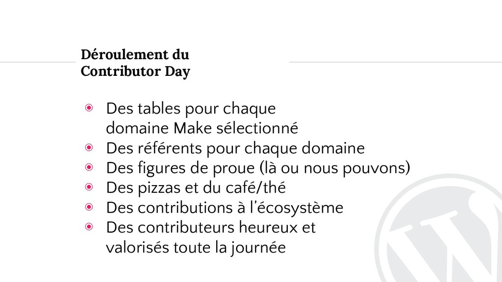 ◉ Des tables pour chaque domaine Make sélection...