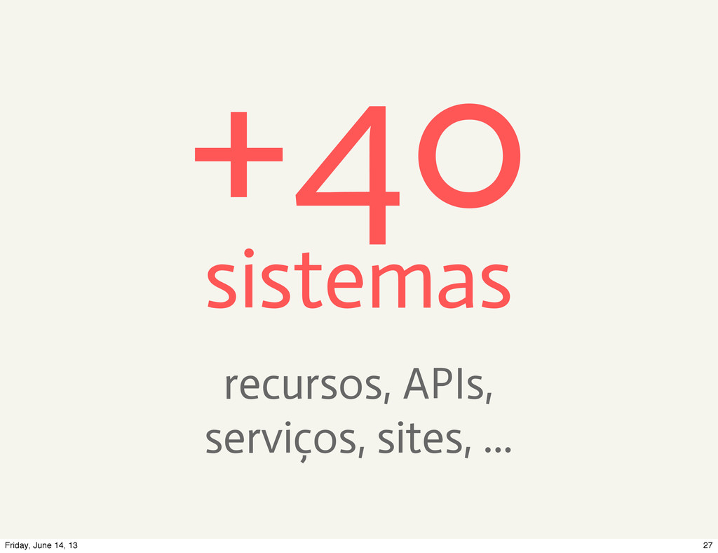 +40 sistemas recursos, APIs, serviços, sites, ....