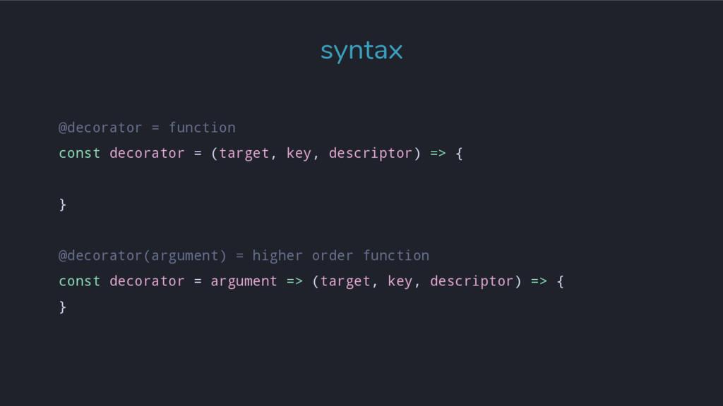 syntax @decorator = function const decorator = ...