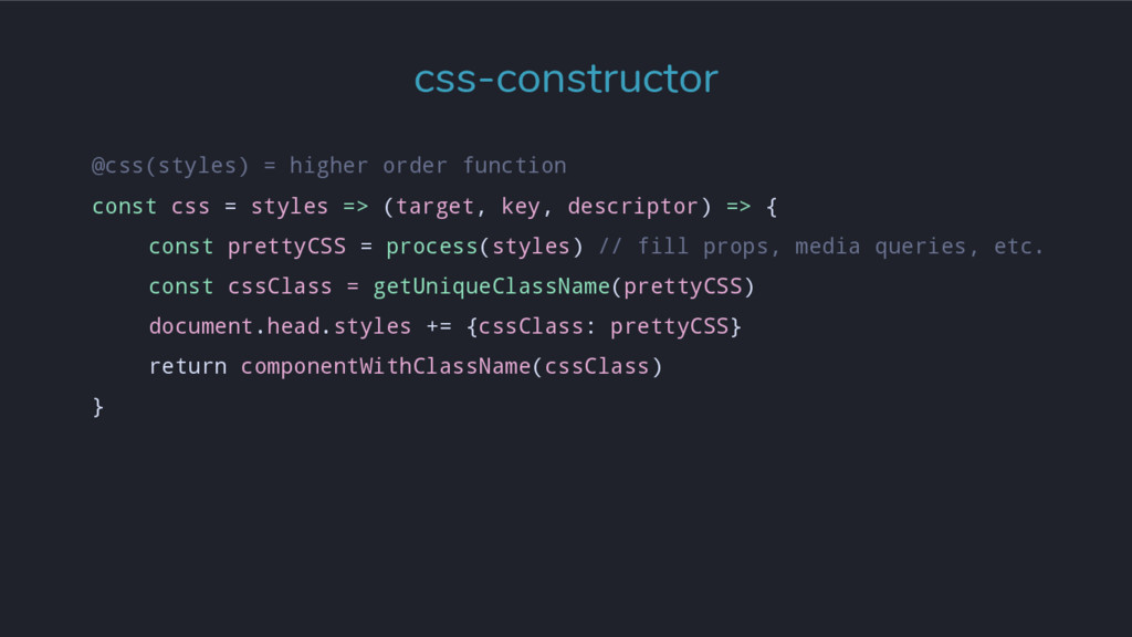 @css(styles) = higher order function const css ...