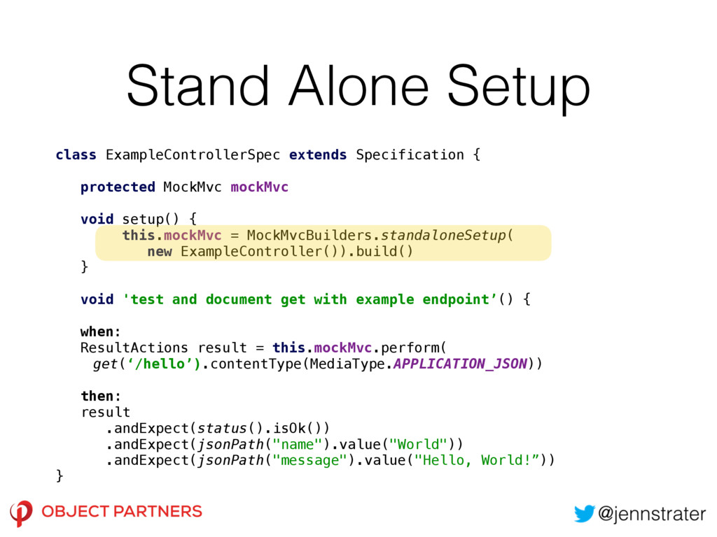 Stand Alone Setup class ExampleControllerSpec e...